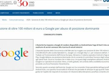 意大利反垄断机构对谷歌罚款1亿欧元